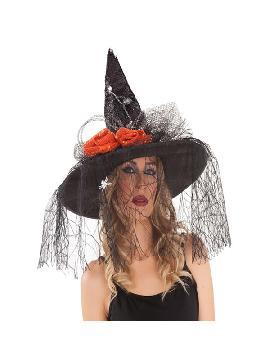 sombrero de bruja negro con tul y flores