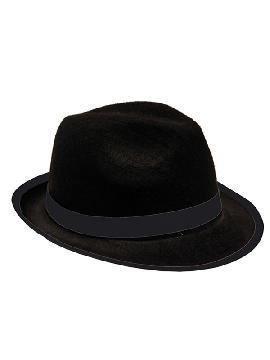 sombrero de gangster pequeno negro 55cm