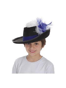 sombrero de mosquetero infantil con pluma