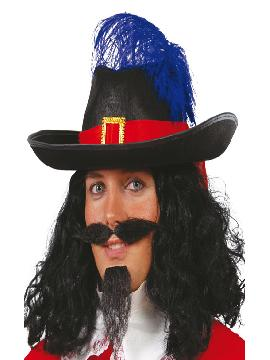 sombrero de mosquetero negro adulto