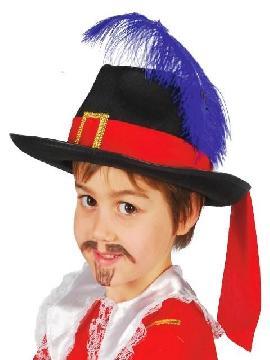 sombrero de mosquetero negro infantil