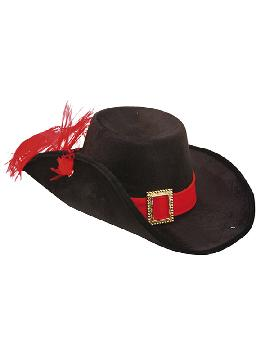 sombrero de mosquetero terciopelo negro adulto