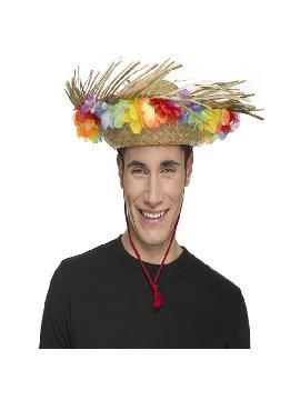 sombrero de paja playero con flores