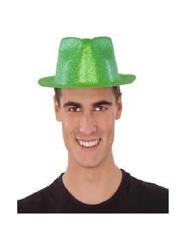 sombrero de plastico glitter verde
