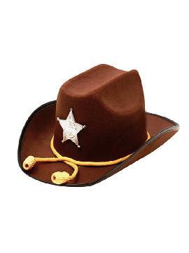 sombrero de sheriff marron con estrella y cuerda