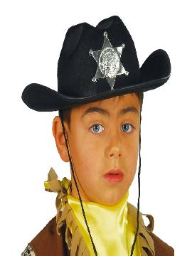 sombrero de sheriff negro infantil