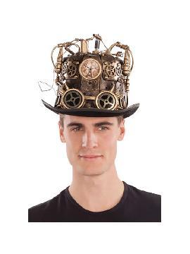 sombrero de steampunk con luz y reloj 57 cm
