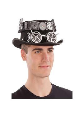 sombrero de steampunk negro con brujula 58 cm