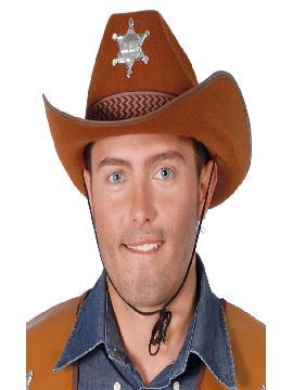 sombrero de vaquero marron estrella adulto