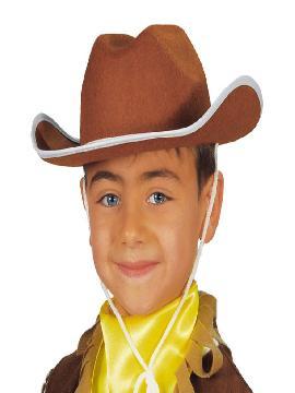sombrero de vaquero marron fieltro infantil