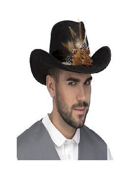 sombrero de vaquero negro con plumas