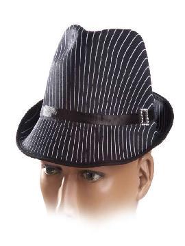sombrero gangster negro con rayas blancas
