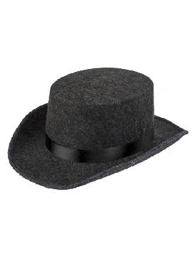 sombrero gris con cinta negra