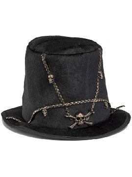sombrero hechicero vudu con cadenas y calaveras