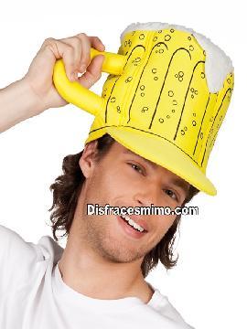 sombrero o gorro jarra cerveza amarillo