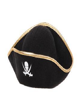 Sombrero pirata infantil de fieltro. Comprar vuestros sombreros originales para grupos, este complemento es para fiestas de bailes, piratas, bucaneros y para vuestros mejores disfraces.