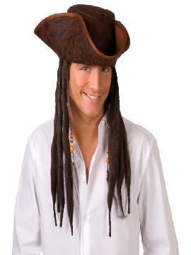 Sombrero de pirata Joe con rastas. Es el complemento ideal para tu disfraz de pirata,bucanero o corsario, sombreros o gorros ideales para tus fiestas de disfraces.
