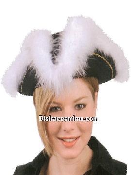 Sombrero de pirata negro. Perfecto para completar tu disfraz de corsaria o pirata, en tus fiestas de disfraces o carnaval en tus fiestas piratas.complementos para piratas