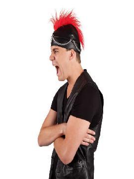 sombrero punky negro cresta roja