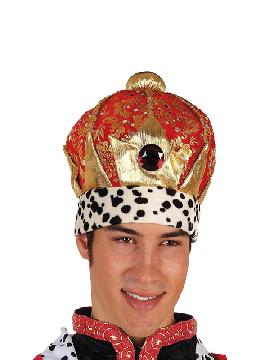 sombrero rey mago lujo rojo y oro