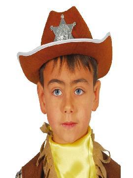 sombrero sheriff marron infantil
