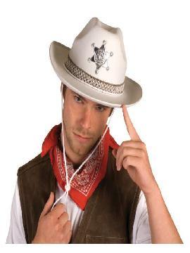 sombrero sheriff blanco con estrella