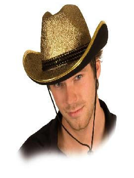 sombrero de vaquero dorado