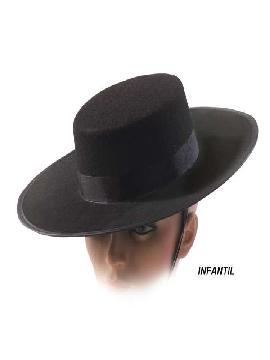 sombrero corbobes negro infantil