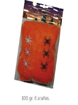 telaraña 100gr naranja con 6 arañas