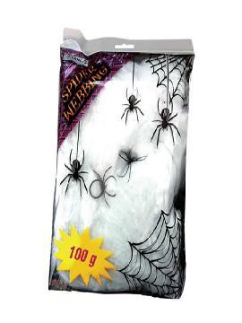 telaraña blanca con arañas decorativas 100 gramos