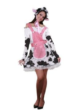 disfraz vaca lechera para mujer. Este cómico y gracioso traje con su gorrito y su vestido  con manchas negras es perfecto para sorprender en tus Fiestas de Disfraces o Carnaval.Este disfraz es ideal para tus fiestas temáticas de disfraces de animales para mujer adultos