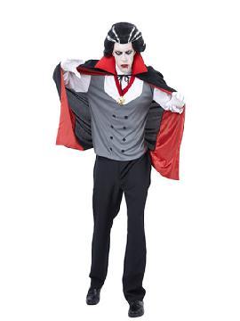 disfraz de vampiro dracula para hombre adulto. Se iría contigo a transilvania. carnavales o halloween son las fechas ideales para que salgas de tu ataúd y disfrutes de toda la diversión que te ofrece el anonimato de la noche. Este disfraz es ideal para tus fiestas temáticas de disfraces de miedo y vampiros para hombre adultos.