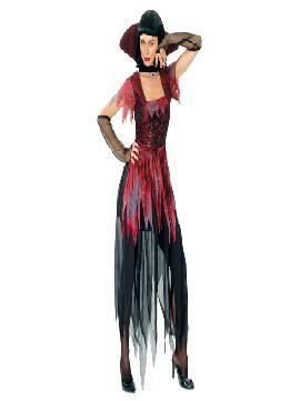 disfraz de vampiresa negra mujer adultos. Éste disfraz de Halloween es ideal para celebrar la Fiesta de la Noche de las Brujas cada vez más arraigada en nuestro País. Este disfraz es ideal para tus fiestas temáticas de disfraces de vampiros y miedo para mujer adultos.