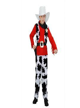 disfraz de vaquero rojo niños. Este comodísimo traje es perfecto para las fiestas del oeste, espectáculos, cumpleaños.Este disfraz es ideal para tus fiestas temáticas de disfraces vaquero para niños.