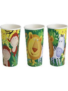 vasos con animales de 6 unidades