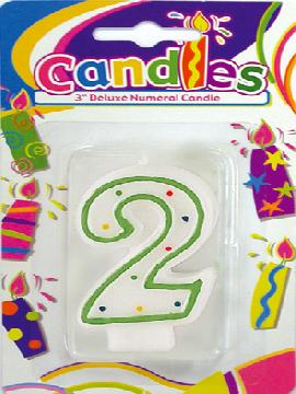 vela de puntos de colores con el numero 2 para tartas. Comprar vuestra vela barata. Ideal para decoraciones de  tartas de cumpleaños con vuestro grupos de amigos o familiares.