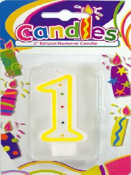 vela de puntos de colores con el numero 1