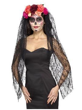 velo negro con tocado floral de catrina mujer