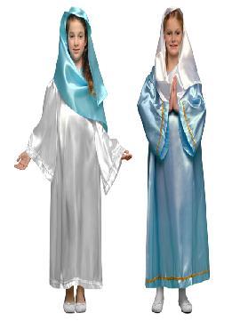 disfraz de virgen maria blanca infantiles para niñas bt 19757.Este comodísimo traje es perfecto para carnavales, espectáculos, cumpleaños. Este disfraz es ideal para tus fiestas temáticas de disfraces de navidad para niñas infantiles.