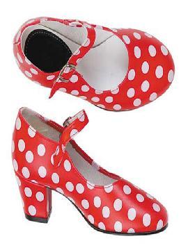 zapatos de andaluza rojos con lunares niña talla 27
